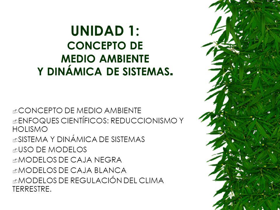 UNIDAD 1: CONCEPTO DE MEDIO AMBIENTE Y DINÁMICA DE SISTEMAS.