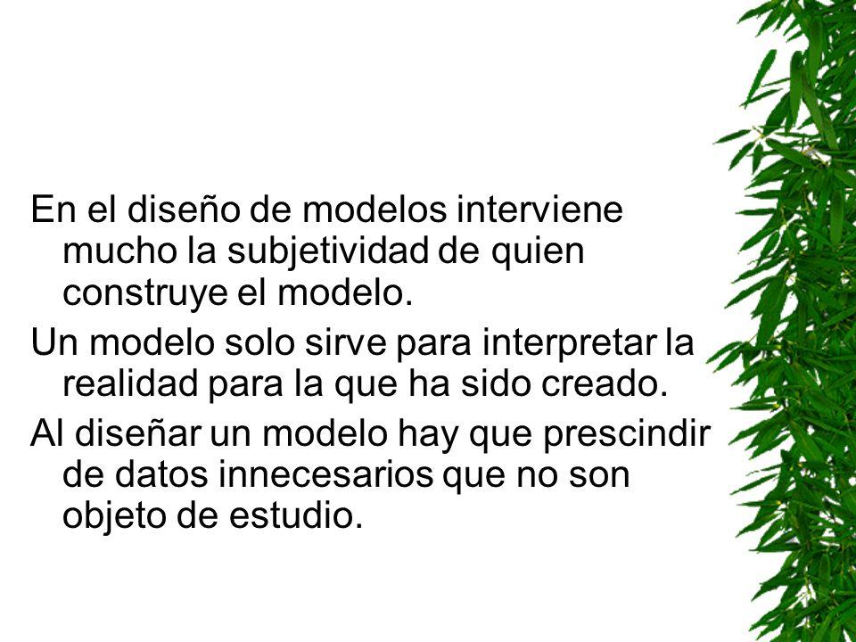 En el diseño de modelos interviene mucho la subjetividad de quien construye el modelo.