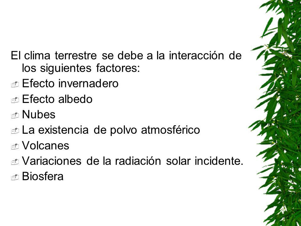 El clima terrestre se debe a la interacción de los siguientes factores: