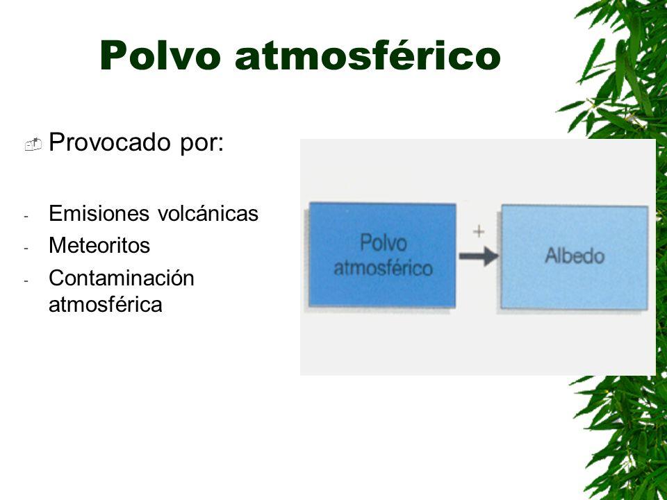 Polvo atmosférico Provocado por: Emisiones volcánicas Meteoritos