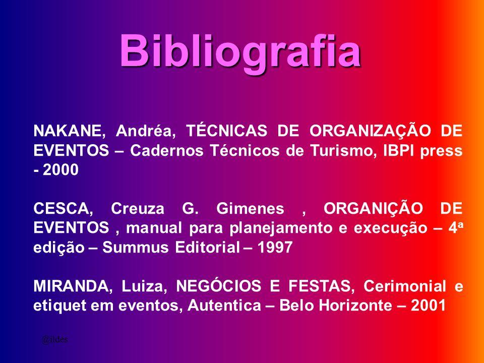 Bibliografia NAKANE, Andréa, TÉCNICAS DE ORGANIZAÇÃO DE EVENTOS – Cadernos Técnicos de Turismo, IBPI press - 2000.
