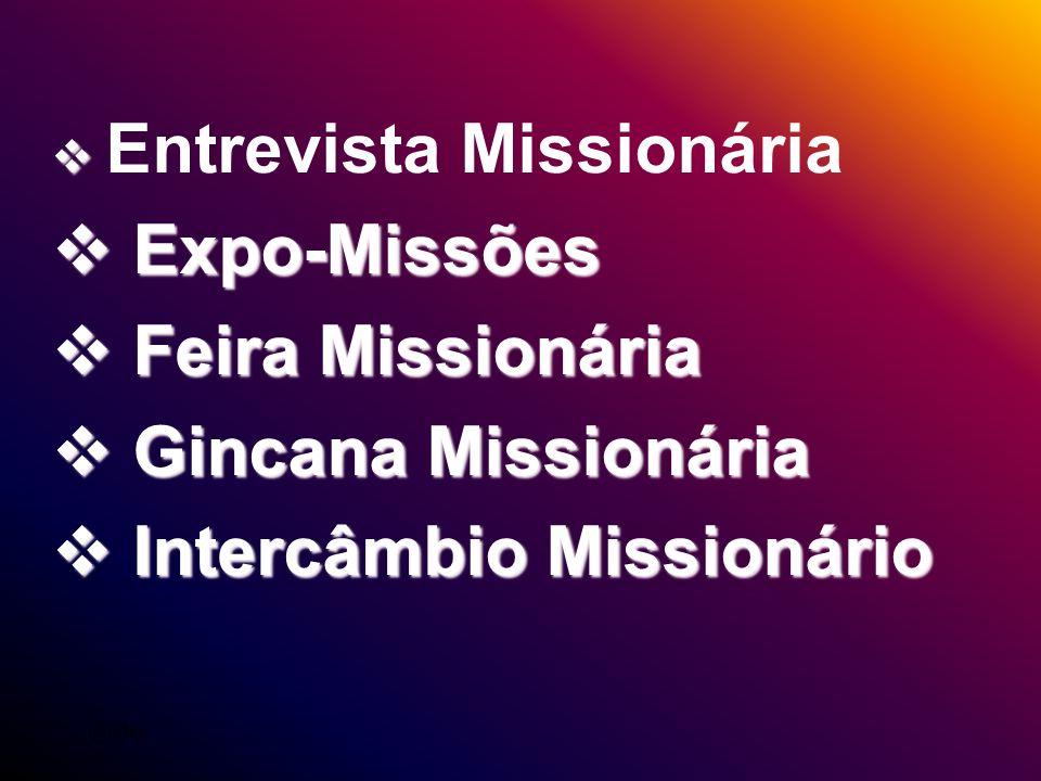 Intercâmbio Missionário