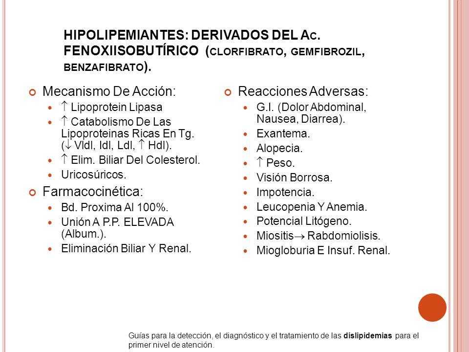 HIPOLIPEMIANTES: DERIVADOS DEL Ac