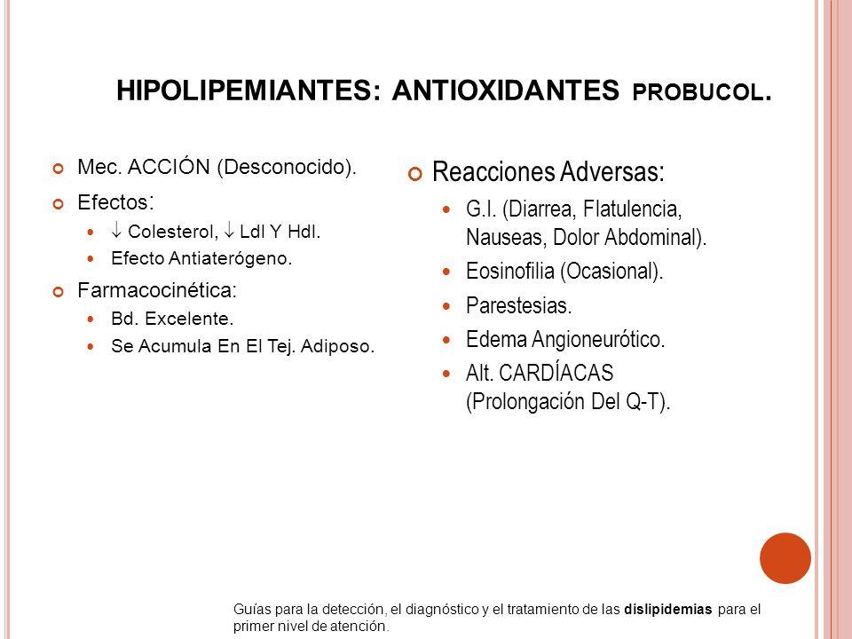 HIPOLIPEMIANTES: ANTIOXIDANTES probucol.