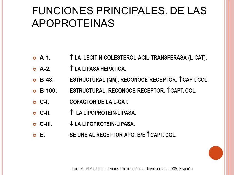 FUNCIONES PRINCIPALES. DE LAS APOPROTEINAS