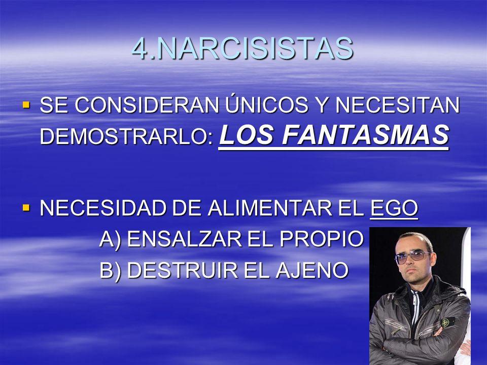 4.NARCISISTAS SE CONSIDERAN ÚNICOS Y NECESITAN DEMOSTRARLO: LOS FANTASMAS. NECESIDAD DE ALIMENTAR EL EGO.