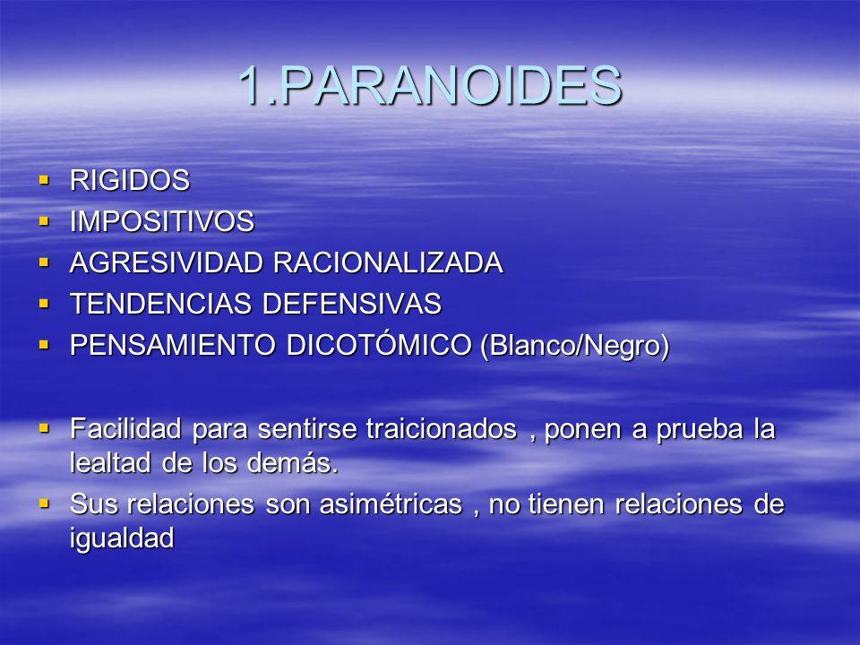 1.PARANOIDES RIGIDOS IMPOSITIVOS AGRESIVIDAD RACIONALIZADA