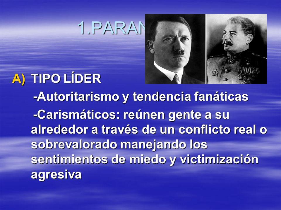 1.PARANOIDES TIPO LÍDER -Autoritarismo y tendencia fanáticas