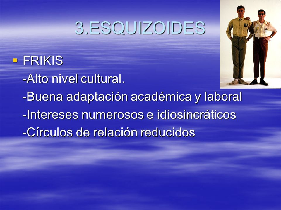 3.ESQUIZOIDES FRIKIS -Alto nivel cultural.