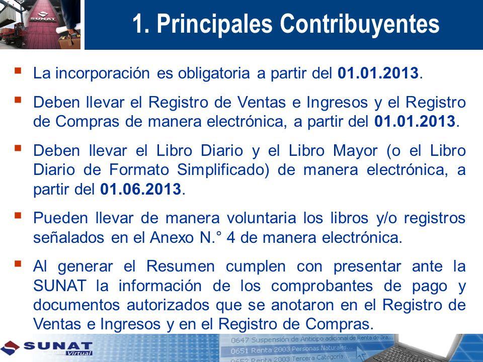 1. Principales Contribuyentes