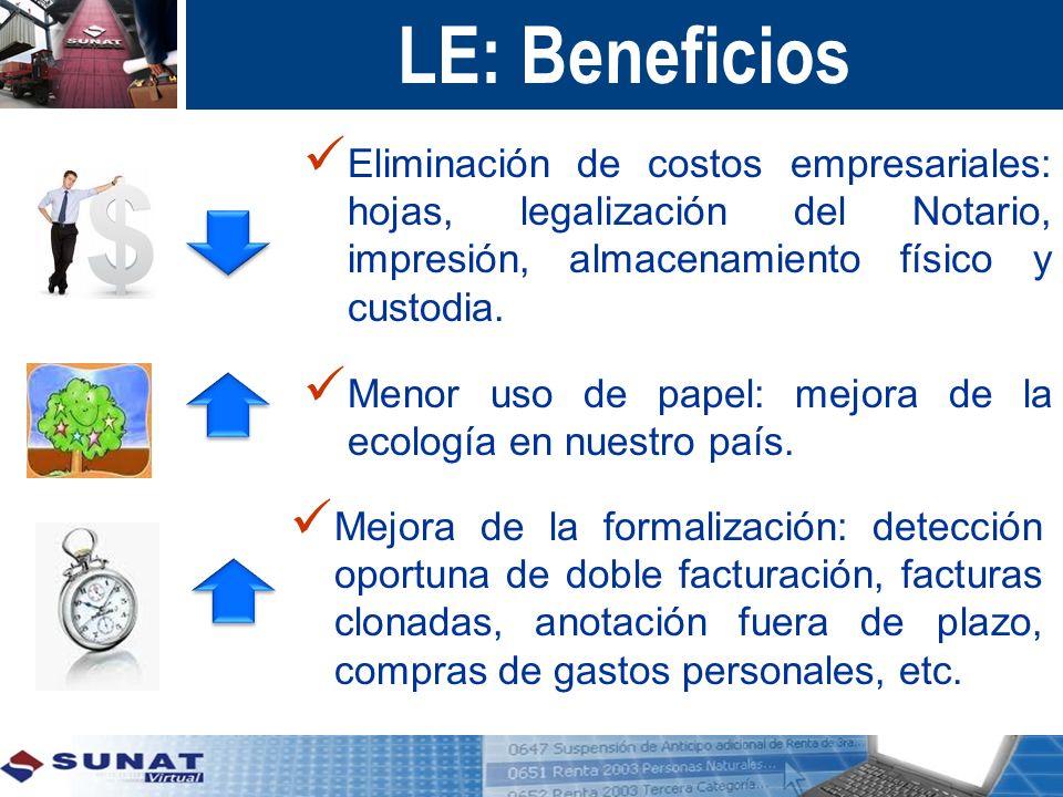 LE: Beneficios Eliminación de costos empresariales: hojas, legalización del Notario, impresión, almacenamiento físico y custodia.