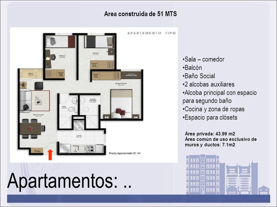 Apartamentos: .. Area construida de 51 MTS Sala – comedor Balcón