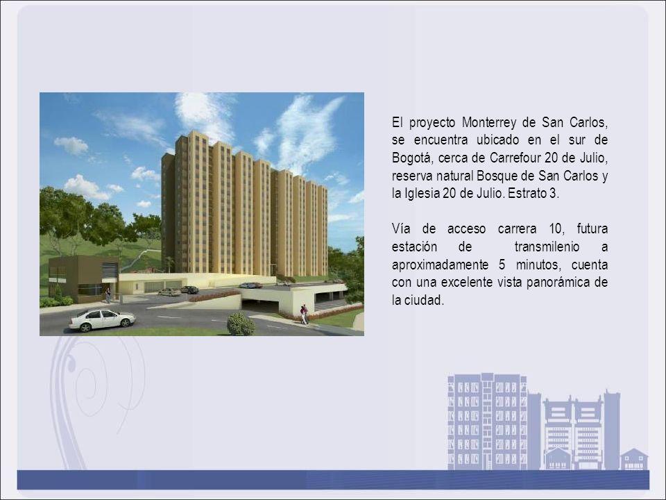 El proyecto Monterrey de San Carlos, se encuentra ubicado en el sur de Bogotá, cerca de Carrefour 20 de Julio, reserva natural Bosque de San Carlos y la Iglesia 20 de Julio. Estrato 3.