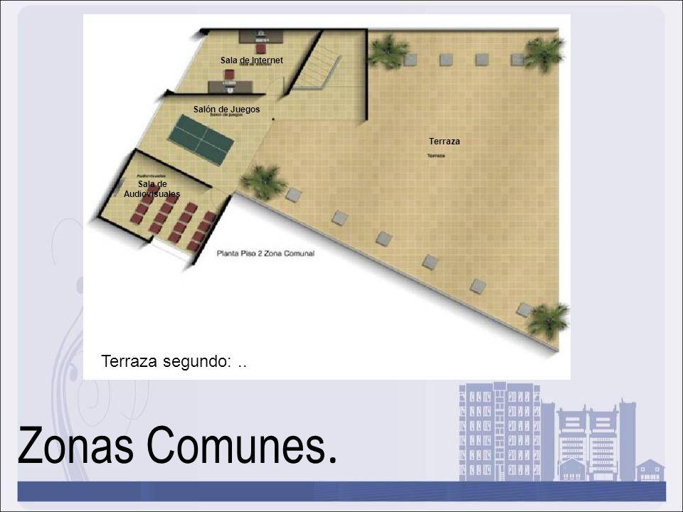 Zonas Comunes. Terraza segundo: .. Sala de Internet Salón de Juegos