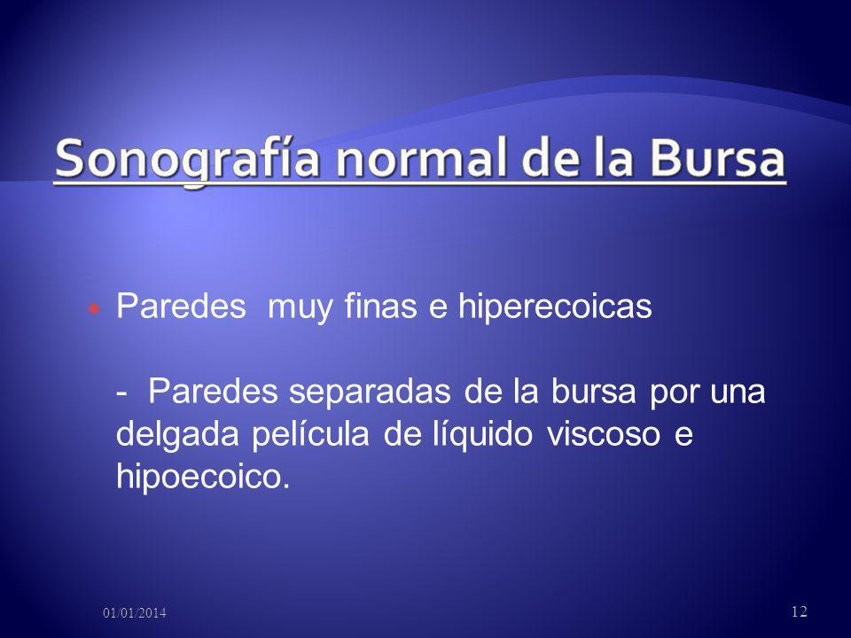 Sonografía normal de la Bursa