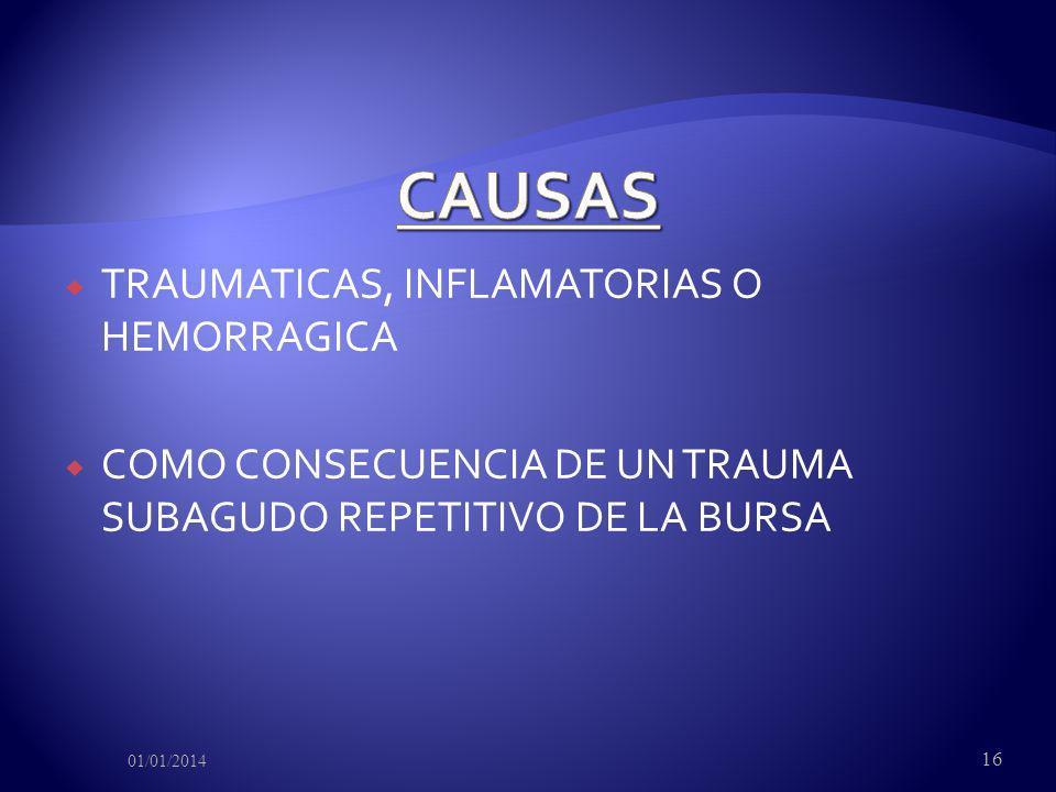 CAUSAS TRAUMATICAS, INFLAMATORIAS O HEMORRAGICA
