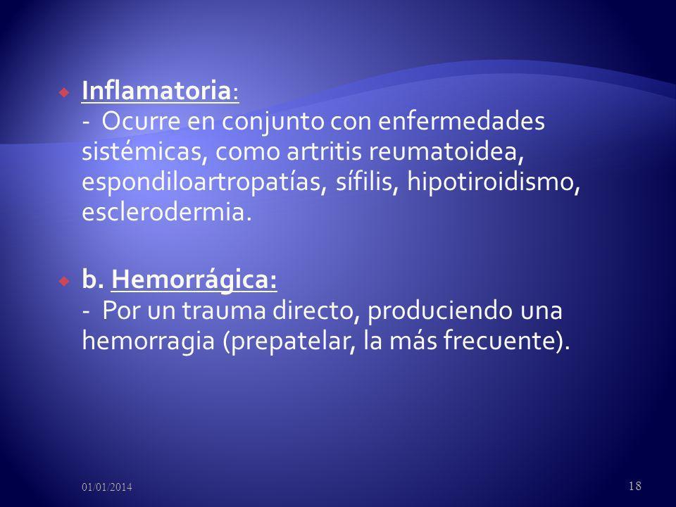 Inflamatoria: - Ocurre en conjunto con enfermedades sistémicas, como artritis reumatoidea, espondiloartropatías, sífilis, hipotiroidismo, esclerodermia.
