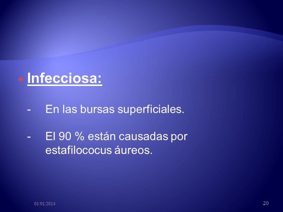 Infecciosa: -. En las bursas superficiales. -