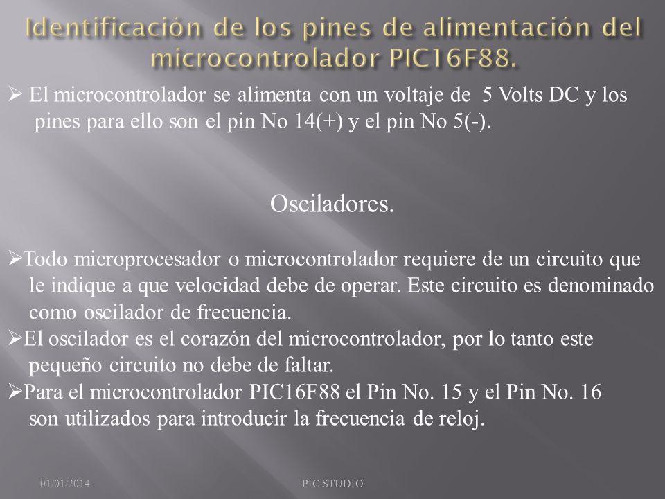 Identificación de los pines de alimentación del microcontrolador PIC16F88.