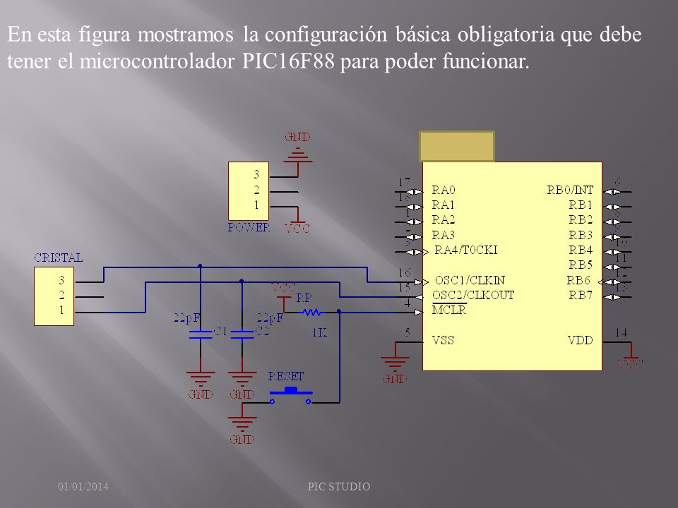 En esta figura mostramos la configuración básica obligatoria que debe tener el microcontrolador PIC16F88 para poder funcionar.
