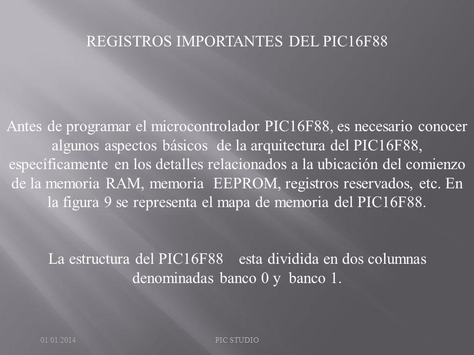 REGISTROS IMPORTANTES DEL PIC16F88