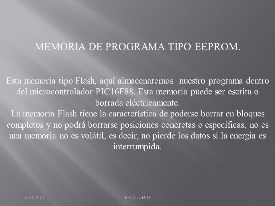 MEMORIA DE PROGRAMA TIPO EEPROM.