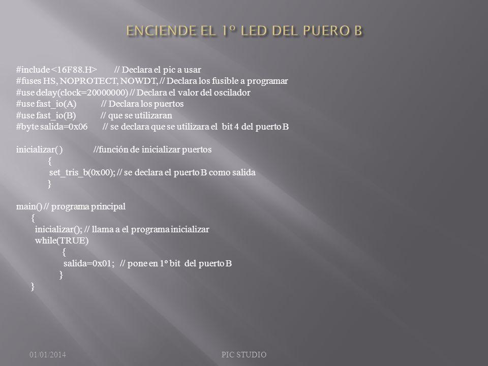 ENCIENDE EL 1º LED DEL PUERO B