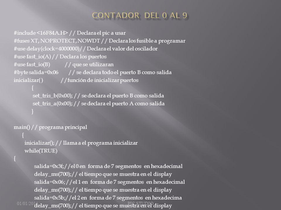 Contador del 0 al 9 #include <16F84A.H> // Declara el pic a usar