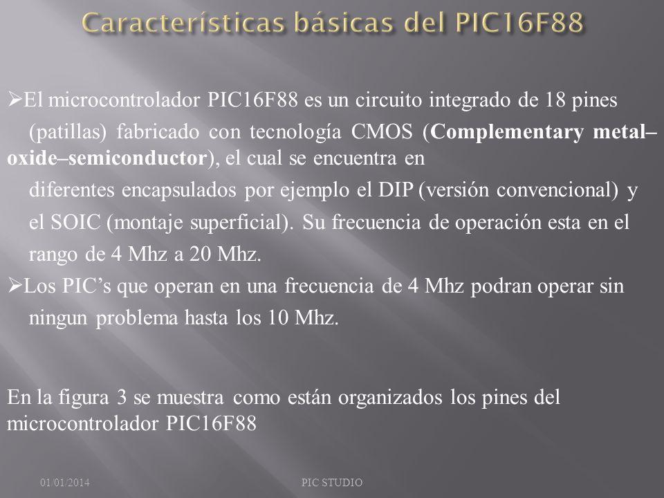Características básicas del PIC16F88