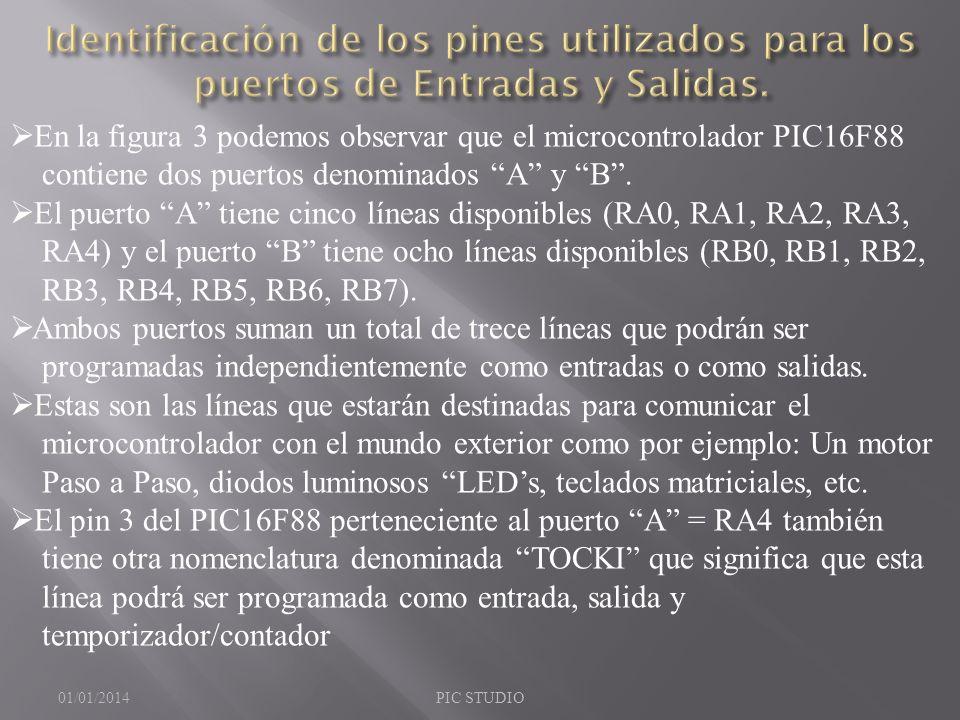 Identificación de los pines utilizados para los puertos de Entradas y Salidas.