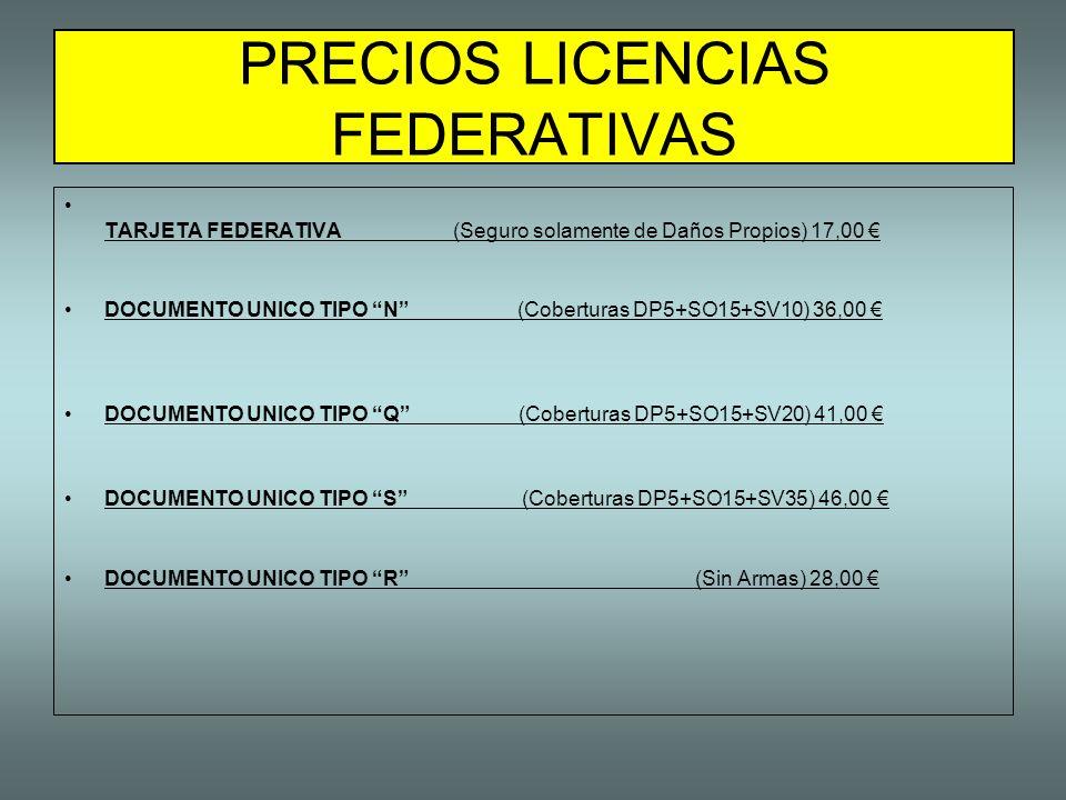 PRECIOS LICENCIAS FEDERATIVAS
