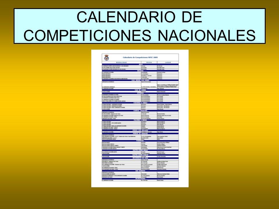 CALENDARIO DE COMPETICIONES NACIONALES