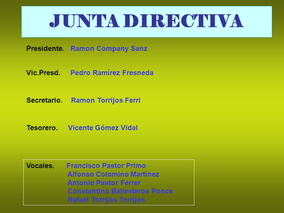 JUNTA DIRECTIVA Presidente. Ramon Company Sanz