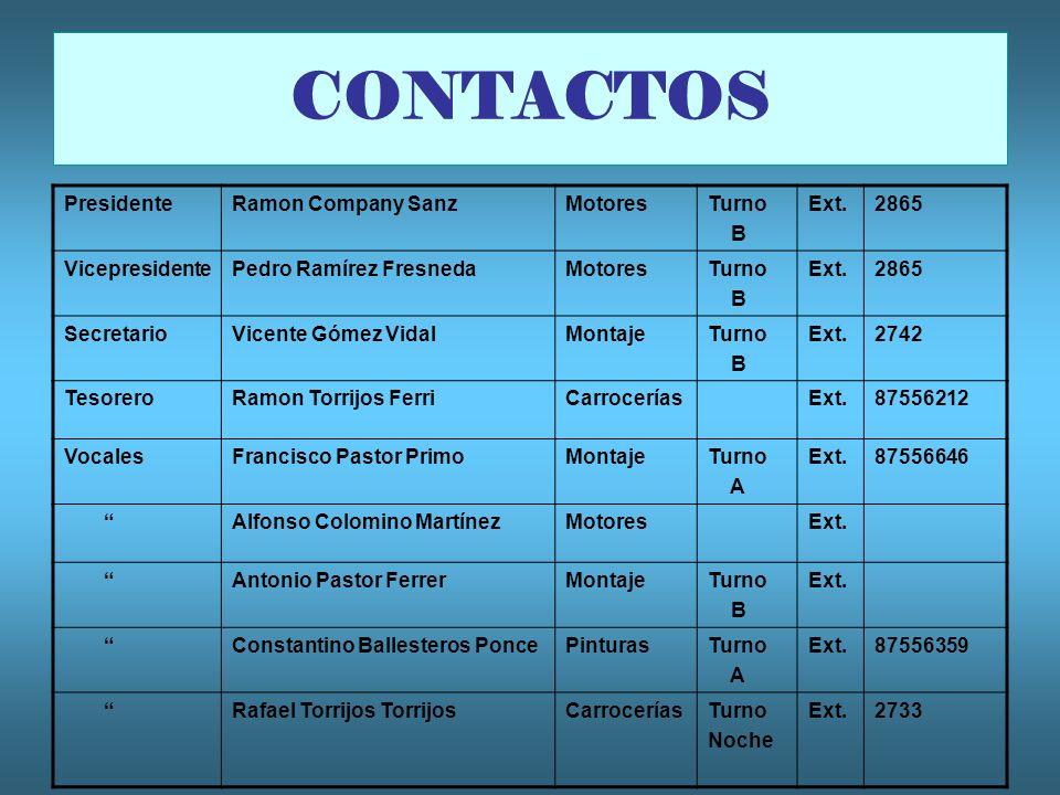 CONTACTOS Presidente Ramon Company Sanz Motores Turno B Ext. 2865
