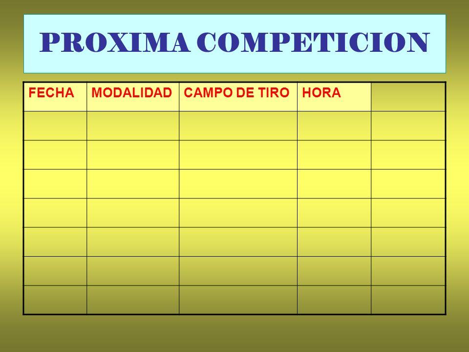 PROXIMA COMPETICION FECHA MODALIDAD CAMPO DE TIRO HORA