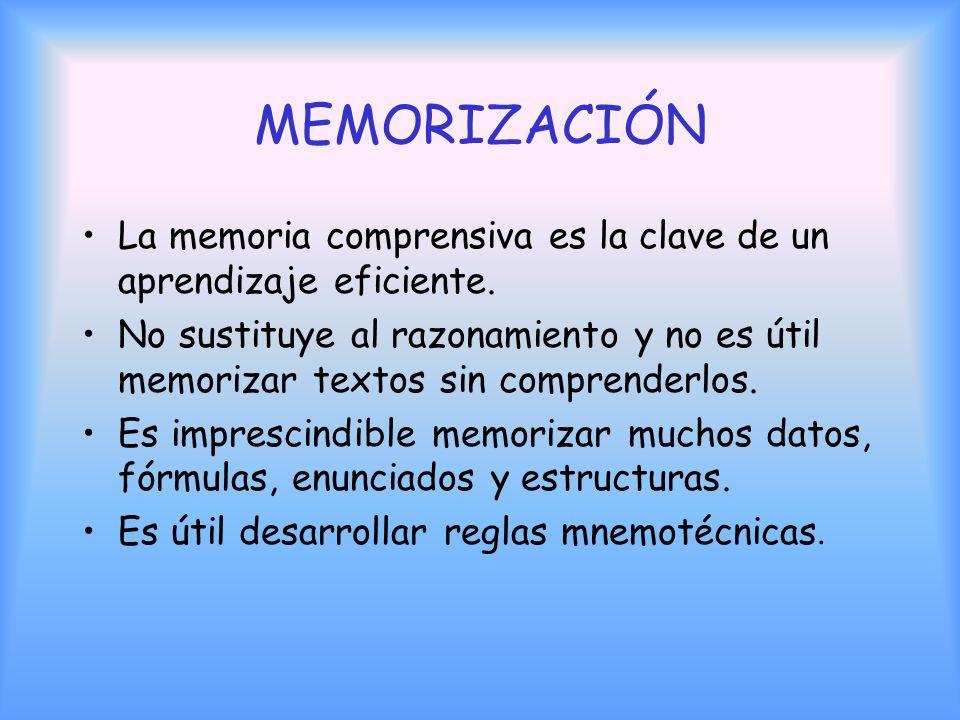 MEMORIZACIÓN La memoria comprensiva es la clave de un aprendizaje eficiente.