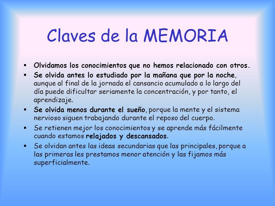 Claves de la MEMORIA Olvidamos los conocimientos que no hemos relacionado con otros.