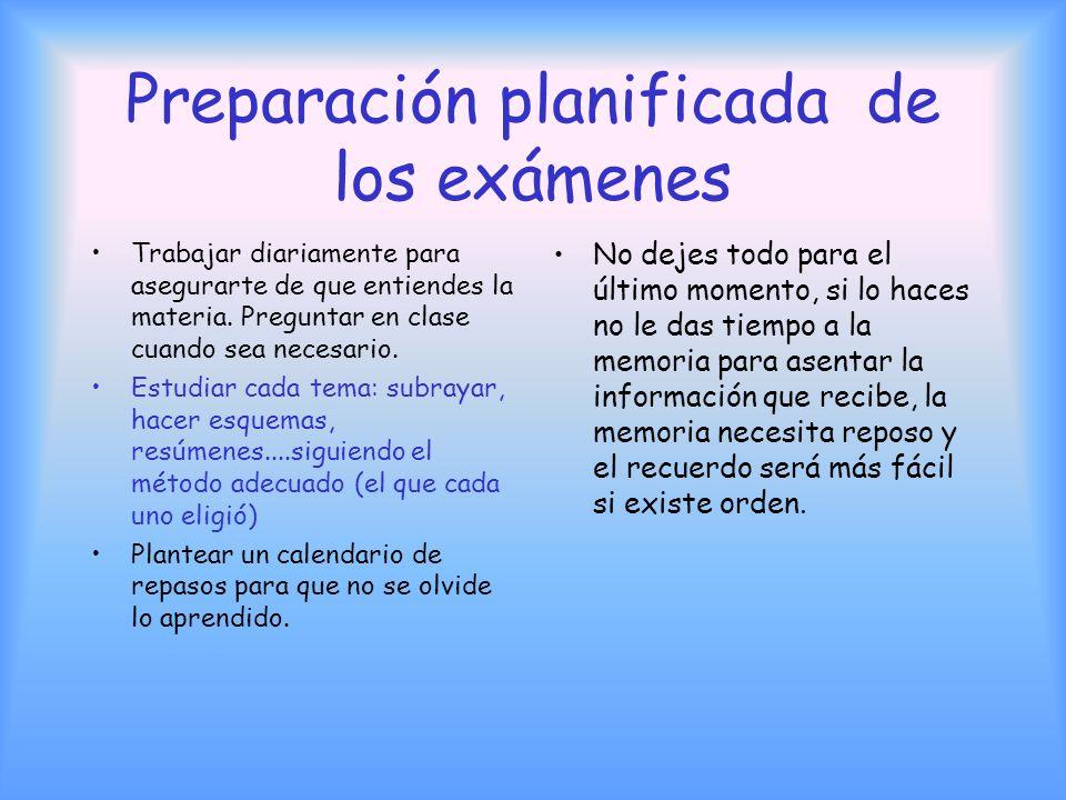 Preparación planificada de los exámenes