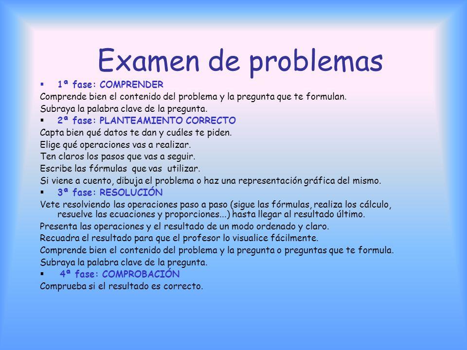 Examen de problemas 1ª fase: COMPRENDER