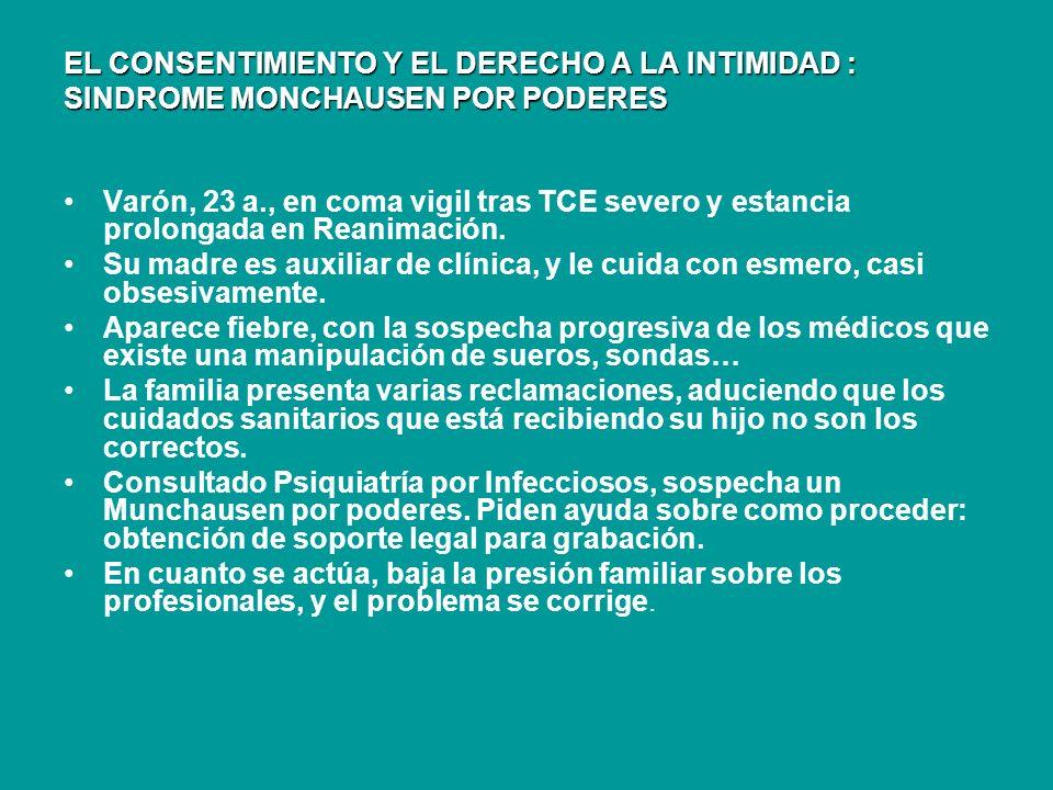 EL CONSENTIMIENTO Y EL DERECHO A LA INTIMIDAD : SINDROME MONCHAUSEN POR PODERES