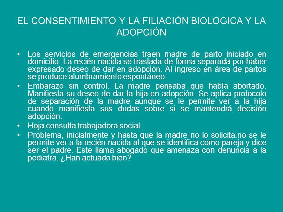EL CONSENTIMIENTO Y LA FILIACIÓN BIOLOGICA Y LA ADOPCIÓN