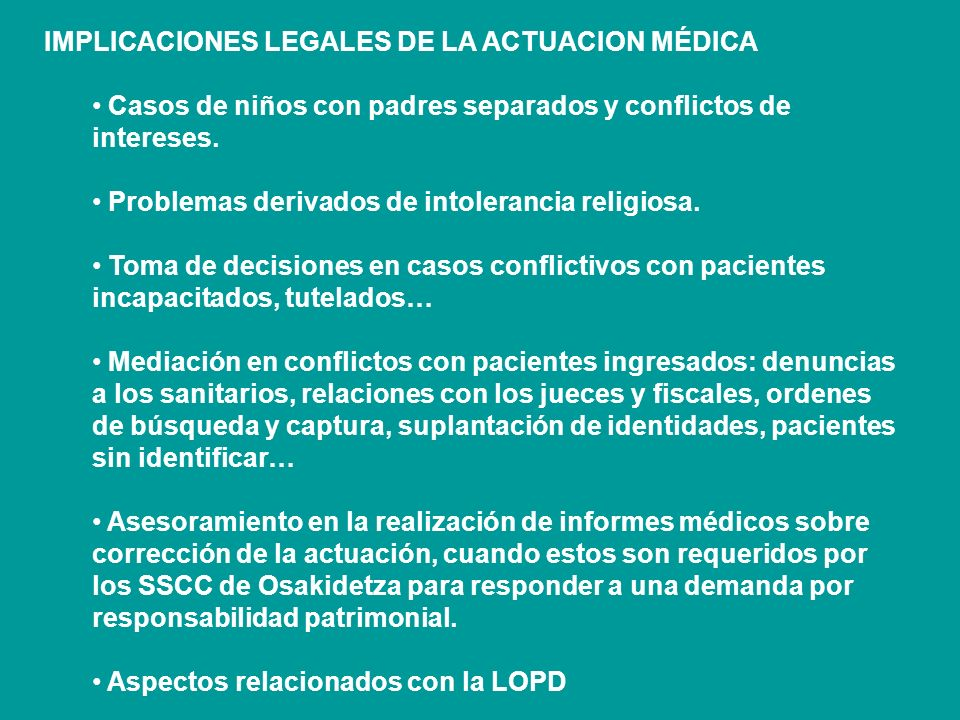 IMPLICACIONES LEGALES DE LA ACTUACION MÉDICA