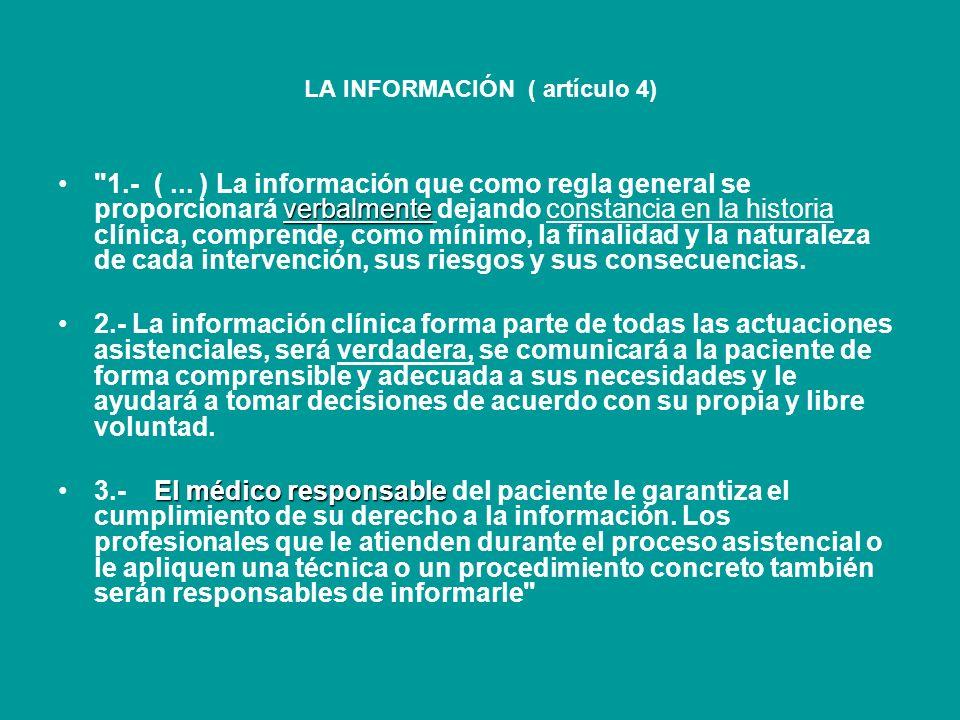 LA INFORMACIÓN ( artículo 4)