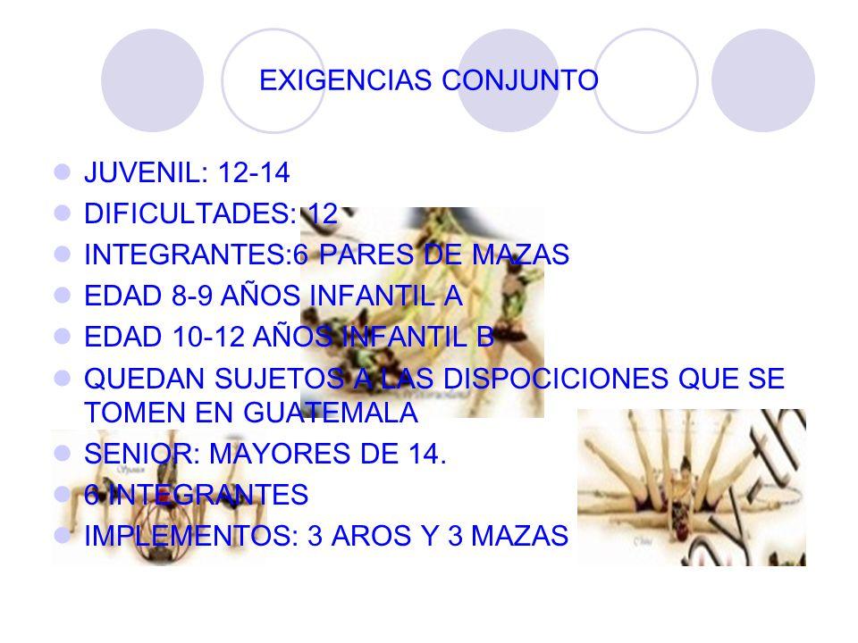 EXIGENCIAS CONJUNTO JUVENIL: 12-14. DIFICULTADES: 12. INTEGRANTES:6 PARES DE MAZAS. EDAD 8-9 AÑOS INFANTIL A.