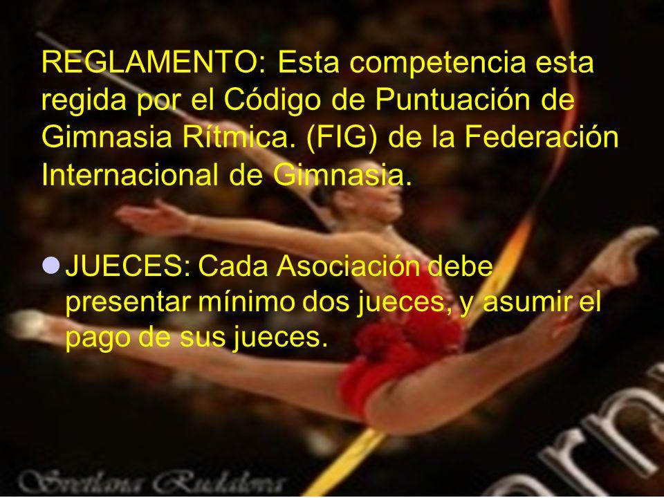 REGLAMENTO: Esta competencia esta regida por el Código de Puntuación de Gimnasia Rítmica. (FIG) de la Federación Internacional de Gimnasia.