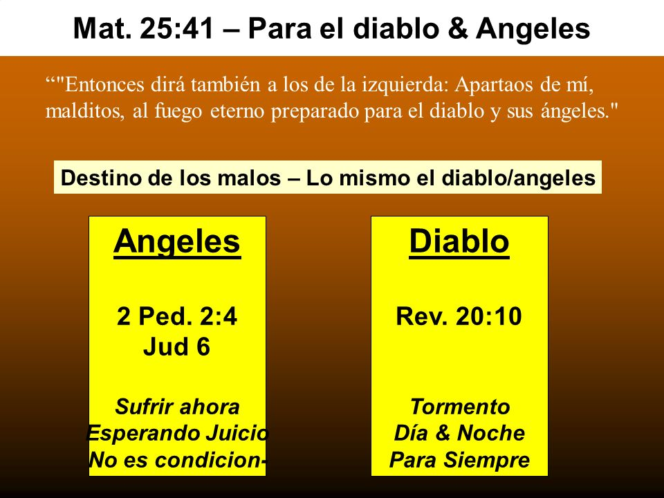 Mat. 25:41 – Para el diablo & Angeles