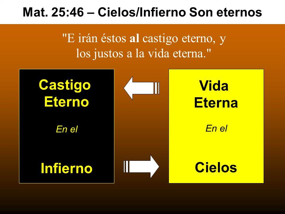 Mat. 25:46 – Cielos/Infierno Son eternos