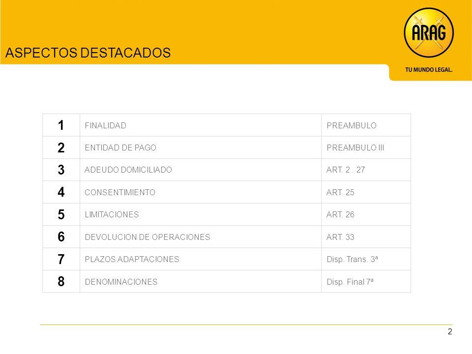 ASPECTOS DESTACADOS 1 2 3 4 5 6 7 8 FINALIDAD PREAMBULO