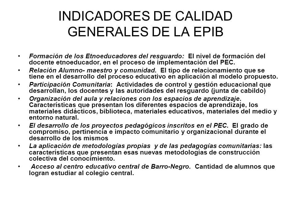 INDICADORES DE CALIDAD GENERALES DE LA EPIB
