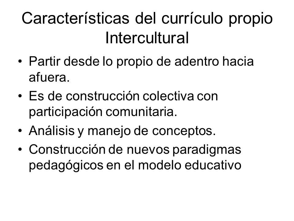 Características del currículo propio Intercultural